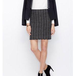 Ann Black and White Tweed Fringe Hem Pencil Skirt